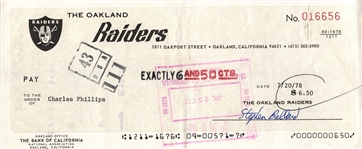 Charles Phillips Signed 1978 Oakland Raiders payroll Check