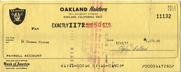 Tom Flores Head Coach Signed 1977 Oakland Raiders payroll Check