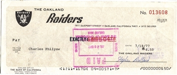 Charles Philyaw Signed 1977 Oakland Raiders payroll Check