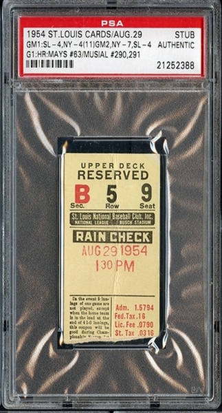 August 29, 1954 St. Louis Cardinals vs New York Giants – Willie Mays Career HR #63 ticket stub