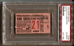 1924 Negro League Ticket Stub – Hilldale Baseball Club vs. Cuban Stars PSA