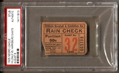1925 Negro League Ticket Stub – Hilldale Baseball Club vs. Harrisburg Giants PSA