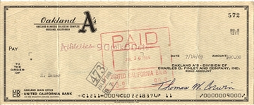 Oakland A's Athletics Payroll Check made out to Manager - Hank Bauer from 1969