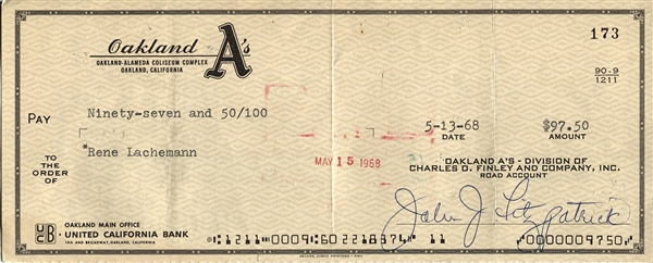 Rene Lachemann Signed Oakland A's Athletics Payroll Check from 1968