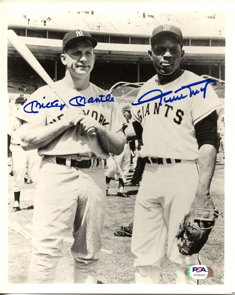Mickey Mantle & Willie Mays Signed AUTO 8x10 Photo PSA/DNA