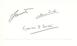"Rene ""The Crocodile"" Lacoste 2 X Wimbledon Champion & Family Signed Calling Card"