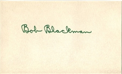 Bob Blackman College Football HOF Signed 3x5 index Card Illinois
