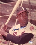 Hank Aaron Vintage Signed AUTO 8x10 Color photo Braves PSA/DNA