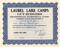 Guy Rodgers Basketball Camp Clinic Signed AUTO award certificate PSA/DNA