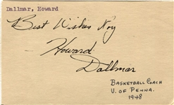Howie Dallmar Signed GPC from 1949 Philadelphia Warriors Stanford Penn