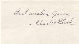 Charlie Charles Black Signed 3x5 Index Card Early NBA Pioneer & Kansas Basketball Legend