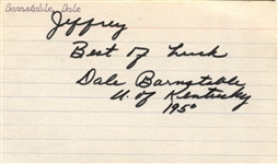 Dale Barnstable Kentucky Basketball Legend – Point Shaving Scandal Signed AUTO 3x5 Index Card