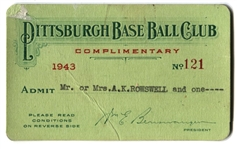 1943 Pittsburgh Pirates Season Pass Ticket Rosey Rowswell 1st Team Broadcaster