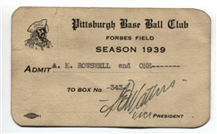 1939 Pittsburgh Pirates Season Pass Ticket Rosey Rowswell 1st Team Broadcaster