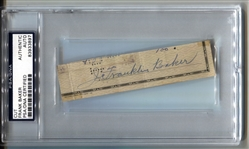 Home Run Baker Check Cut Autograph Signature D. 1963 HOF PSA/DNA
