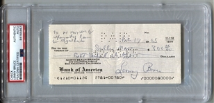 Lenny Bruce Signed Personal Check for Legal bills Greatest Comedian of All Time PSA/DNA