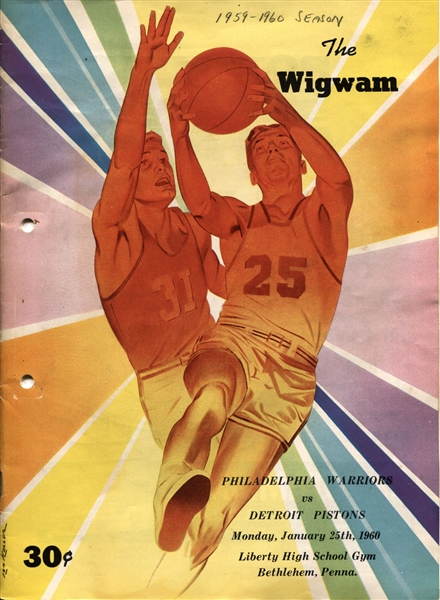 1960 Philadelphia Warriors vs. Detroit Pistons Basketball Program Wilt Chamberlain Scores 58 points