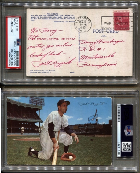 Phil Rizzuto Signed AUTO note postmarked 1953 Dormand Postcard Yankees PSA/DNA