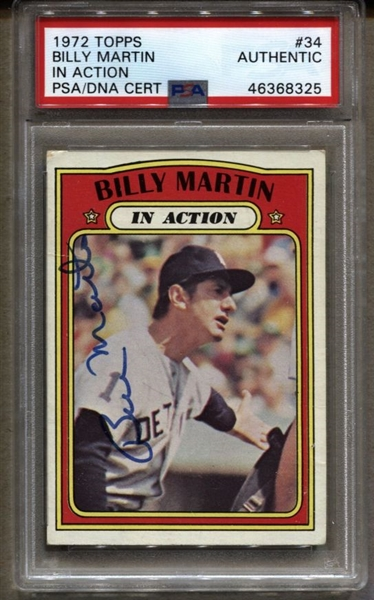 1972 Topps #34 Billy Martin Signed AUTOGRAPHED IN ACTION baseball card PSA/DNA