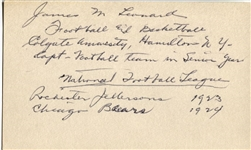 James Jim Leonard signed AUTO 3x5 index card 1923 Rochester Jeffersons 1924 Chicago Bears