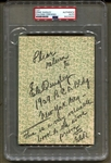 Ernest Ernie C. Quigley Signed AUTO Book Page D.1960 Basketball Hall of Fame PSA/DNA