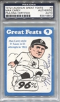 Max Carey Signed AUTO 1972 Laughlin Great Feats #9 PSA/DNA