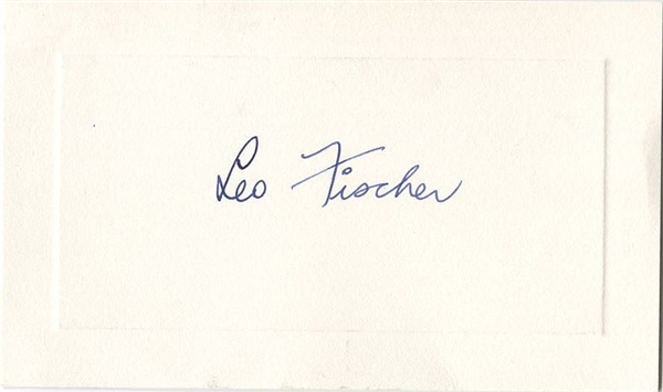 Leo Fischer Signed AUTO Presentation Card President of the National Basketball League NBA Pioneer