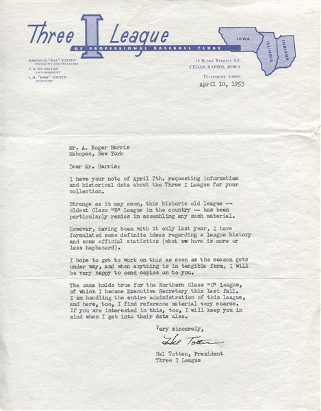 Hal Totten Chicago Cubs White Sox Broadcaster Signed Letter D.1983