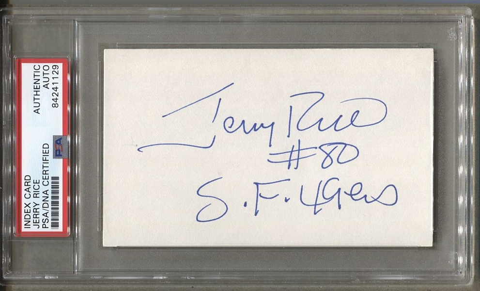 Jerry Rice signed AUTO 3x5 index card San Francisco 49ers vintage early autograph PSA/DNA