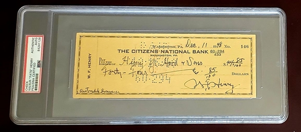 Wilbur Fats Henry Signed Personal Check Pro Football HOF D. 1952 PSA/DNA