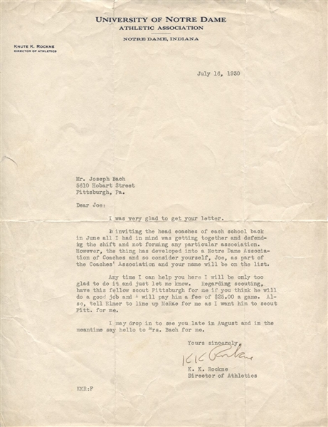Knute Rockne Signed Letter to 7 Mules Notre Dame football player Joe Bach PSA/DNA LOA