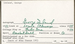 George Ireland signed 3x5 index card Document Loyola 1963 NCAA Champs & Notre Dame