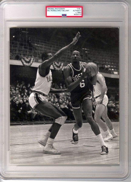 1961-62 Bill Russell vs Rookie Walt Bellamy NBA Action TYPE 1 Original Photo PSA/DNA