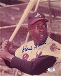 Hank Aaron Vintage Signed AUTO 8x10 Color photo Atlanta Braves PSA/DNA