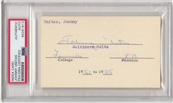 Johnny Unitas Signed AUTO 3x5 Index Card Document Pre-Rookie Louisville PSA/DNA
