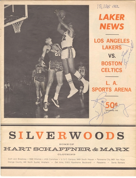 1964 L.A. Lakers vs Boston Celtics & NY Knicks Multi-Signed Autographed NBA Basketball Program