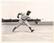 1946 Jackie Robinson Takes Fielding Practice with the Montreal Royals Original TYPE II photo