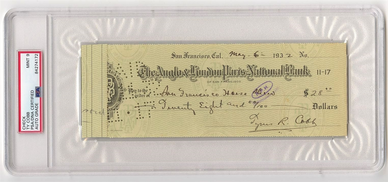 Ty Cobb Signed Autographed 1932 Check Baseball HOF Tigers PSA/DNA MINT 9