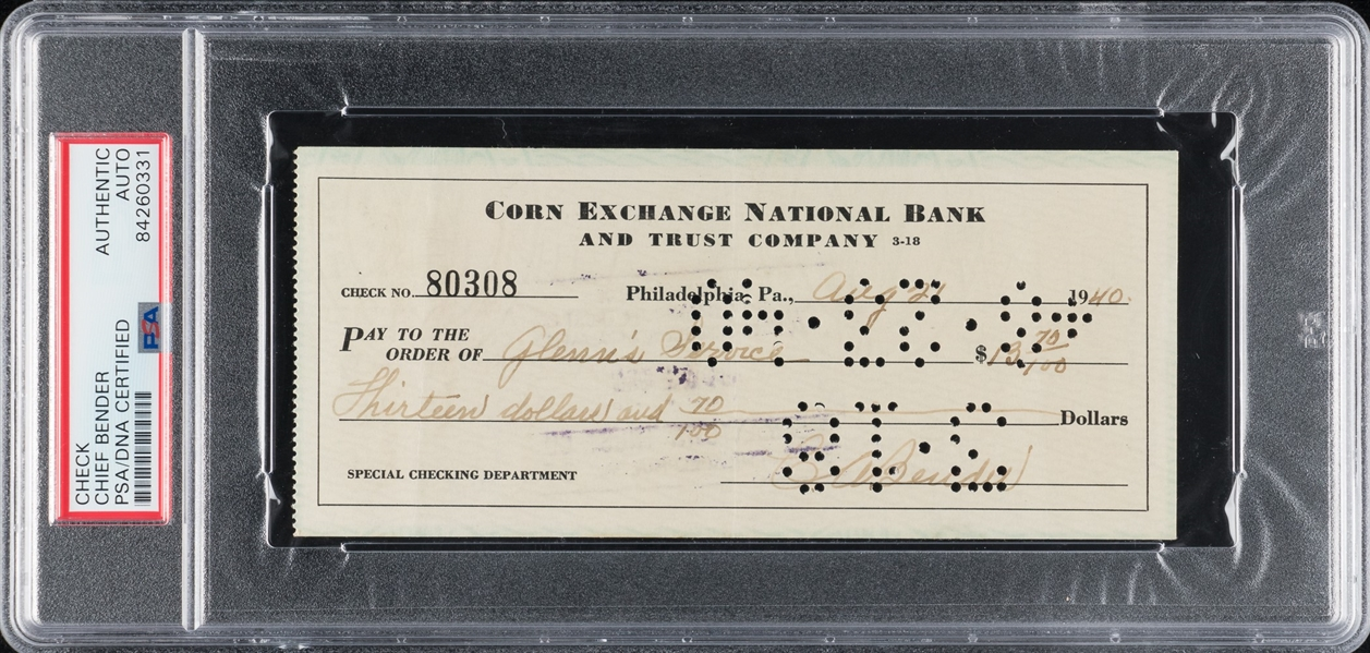 Charles Chief Bender Baseball HOF Signed AUTO Check PSA/DNA D. 1954