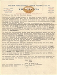 Harry March Co-Founder of the New York Football Giants Signed Letter Fantastic Content
