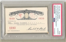 1939 NFL Season Pass Ticket with Rare Carl Storck Facsimile Signature MUST READ PSA Graded