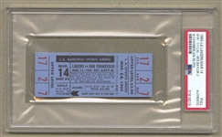March 14, 1964 L.A. Lakers vs. S.F. Wariors Full Ticket Wilt Chamberlain 55 PTS PSA